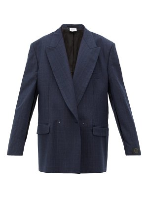 VETEMENTS slit sleeve double breasted check wool blazer