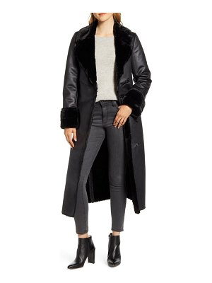 Via Spiga faux leather coat with faux shearling trim