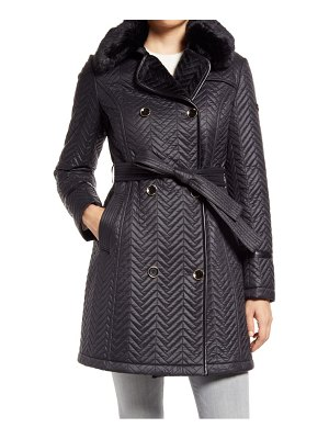 Via Spiga water resistant double breasted faux fux collar quilted coat