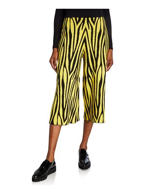 Victor Glemaud Cropped Animal-Print Wide-Leg Pants