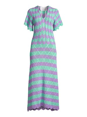 Victor Glemaud short-sleeve striped scalloped crochet midi dress