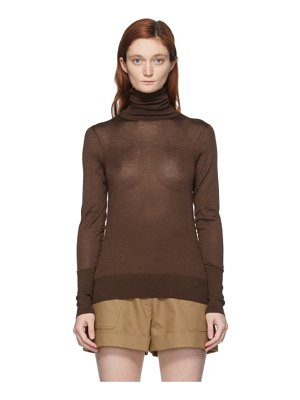 Victoria Beckham brown silk slim-fit turtleneck