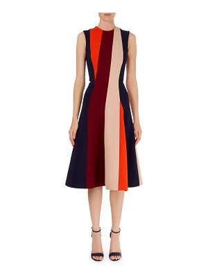 Victoria Beckham Colorblock-Stripe Fit-and-Flare Dress
