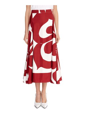 Victoria Beckham Graphic Floral Draped-Sides Silk Midi Skirt
