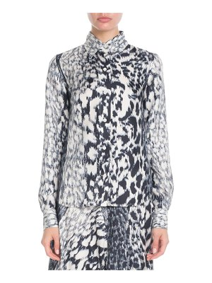 Victoria Beckham Long-Sleeve Button-Front Printed Silk Top