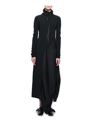 Victoria Beckham Mock-Neck Long-Sleeve Pleated-Side Long Dress