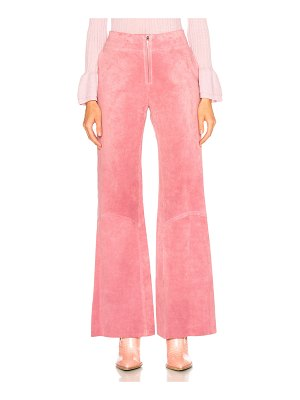 Victoria Beckham Paneled Flare Suede Trousers