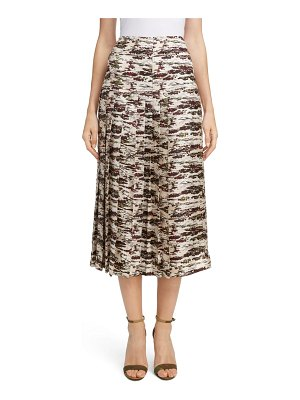 Victoria Beckham pleated silk midi skirt