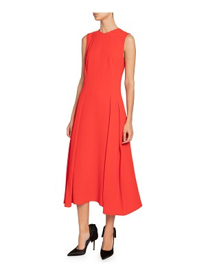 Victoria Beckham Pleated-Waist Flare Dress