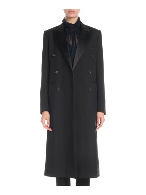 Victoria Beckham Satin-Lapel Double-Breasted Long Coat