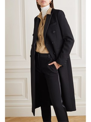Victoria Beckham satin-trimmed double-breasted wool-gabardine coat