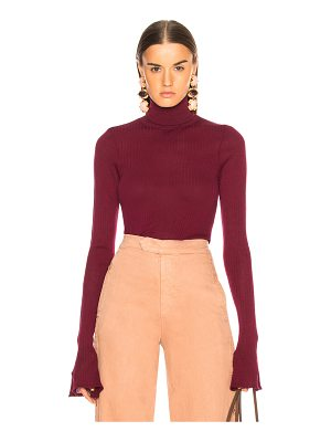 Victoria Beckham Sheer Rib Polo Neck Top