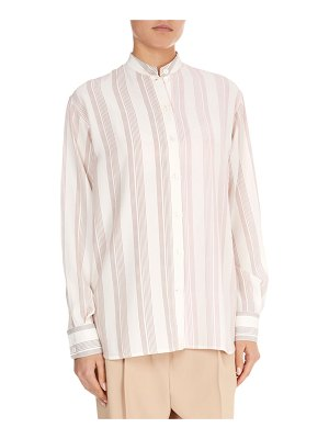 Victoria Beckham Silk Striped Grandad Top