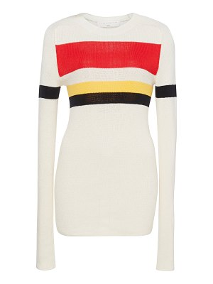 Victoria Beckham striped ribbed cotton-blend top