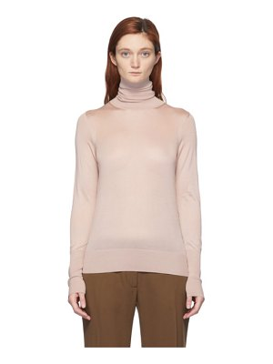 Victoria Beckham pink silk slim-fit turtleneck