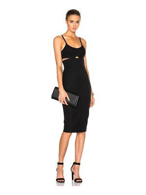 Victoria Beckham Wool Gabardine Rib Cut Out Fitted Dress
