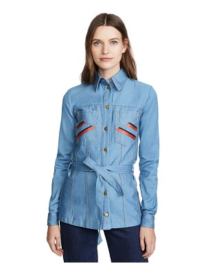 Victoria by Victoria Beckham belted embroidered shirt