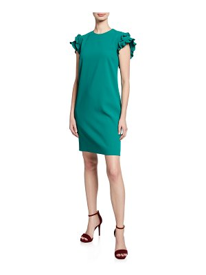 Victoria by Victoria Beckham Double Ruffle Cap-Sleeve Shift Dress