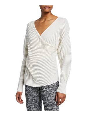 Victoria by Victoria Beckham Drape-Front Wool Sweater