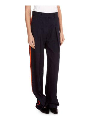 Victoria by Victoria Beckham Flat-Front Wide-Leg Wool Pants with Tux Stripe