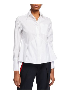 Victoria by Victoria Beckham Flounce-Hem Striped Shirt