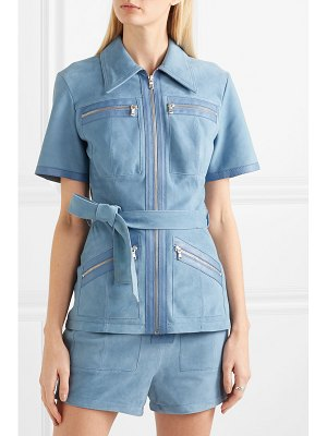 Victoria by Victoria Beckham leather-trimmed suede shirt