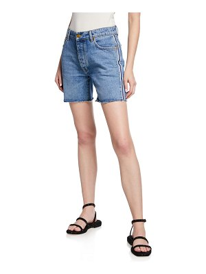 Victoria by Victoria Beckham Mid-Thigh Worn Denim Shorts