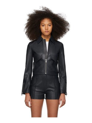 Victoria by Victoria Beckham navy leather patch pocket jacket