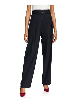 Victoria by Victoria Beckham Pleated Logo Waistband Trousers