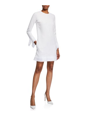 Victoria by Victoria Beckham Pleated-Trim Long-Sleeve Shift Dress