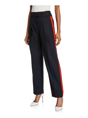 Victoria by Victoria Beckham Side-Striped Belted Trousers