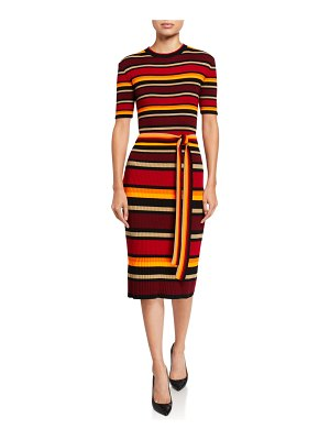 Victoria by Victoria Beckham Striped Short-Sleeve Fitted Sweater Dress
