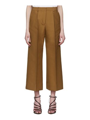 Victoria by Victoria Beckham tan double cloth cropped chino culottes