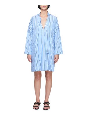 Victoria by Victoria Beckham Tie-Neck Long-Sleeve Striped Cotton Dress