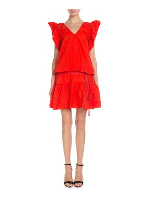 Victoria by Victoria Beckham V-Neck Flutter-Sleeve Ruffled Short Dress