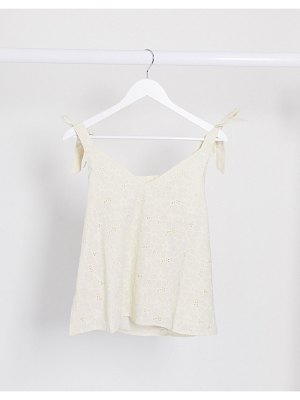 Vila broderie cami top with tie shoulders in white