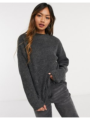 Vila knitted sweater co-ord with high neck in gray-grey
