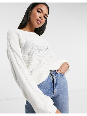 Vila knitted sweater with balloon sleeve in white