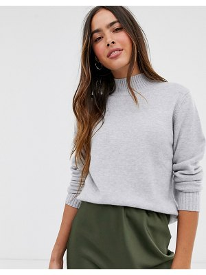 Vila knitted sweater with high neck in gray-grey