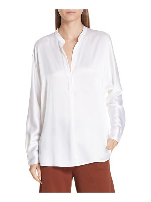 Vince band collar silk blouse