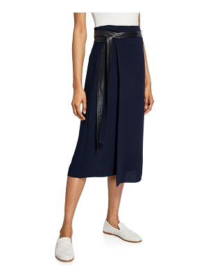 Vince Belted A-line Midi Wrap Skirt