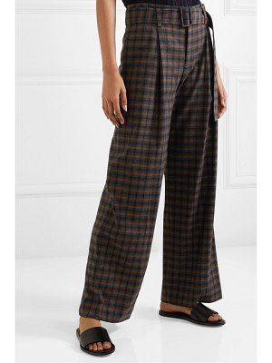 Vince belted checked woven wide-leg pants