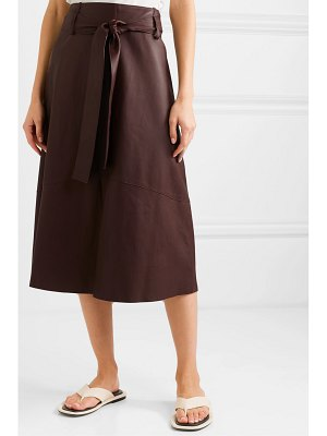 Vince belted leather midi skirt