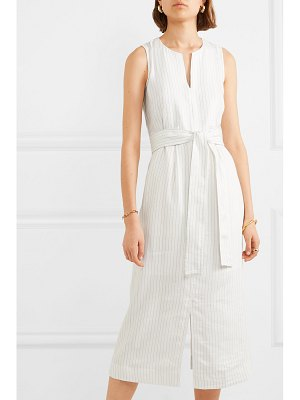 Vince belted pinstriped crepe midi dress
