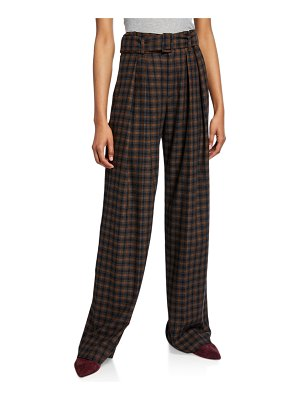 Vince Belted Plaid Wide-Leg Pants