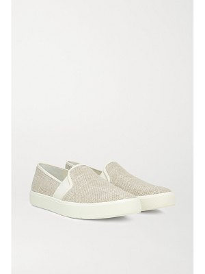 Vince blair 5 leather-trimmed canvas slip-on sneakers
