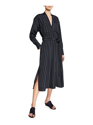 Vince Bold Stripe Belted V-Neck Midi Dress