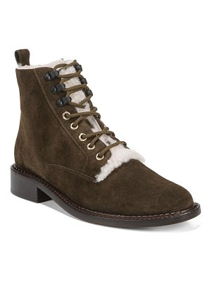 Vince Cabria Lace-Up Booties with Fur Trim