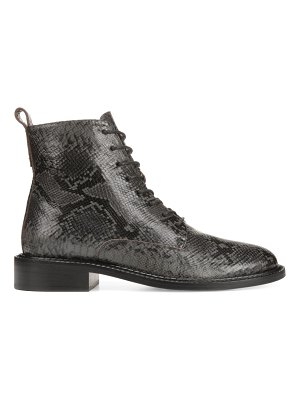 Vince cabria snakeskin-embossed leather combat boots