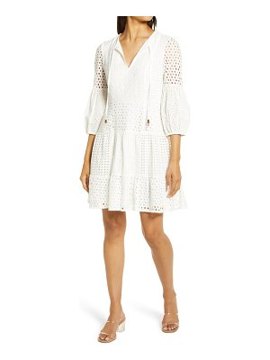 Vince Camuto balloon sleeve cotton eyelet dress